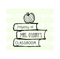 Custom Property Of  - School Teacher Name - Book  Stack Stamp