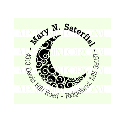 Crescent Moon Custom Return Address Stamp