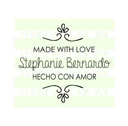 Custom Made With Love - Spanish Hecho Con Amor  Stamp