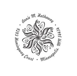 Custom Paisley Flower Address Stamp
