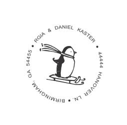Custom Penguin Christmas Address  Stamp