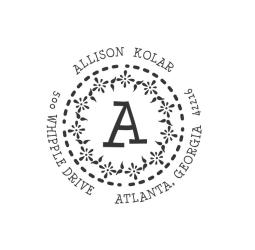 Circle monogram custom return address Stamp