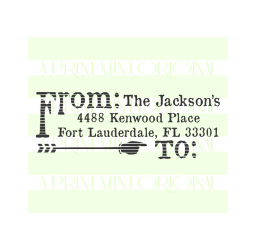 Custom Return Address Stamp, Distressed Rustic Arrow  Stamp