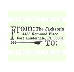 Custom Return Address Stamp, Distressed Rustic Arrow  Stamp