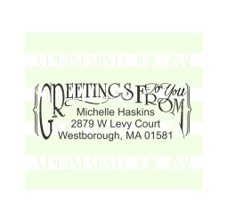 Custom Return Address Stamp, Greeting To You Stamp