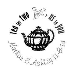 Custom Wedding Stamp Round-Tea Pot Stamp