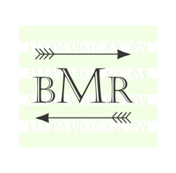 Personalized Monogram Arrow Stamp- Custom Initials Monogram Stamp