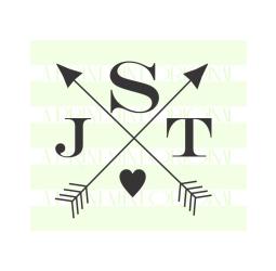 Crossed Arrow Wedding Monogram Stamp- Custom Small Initials Stamp
