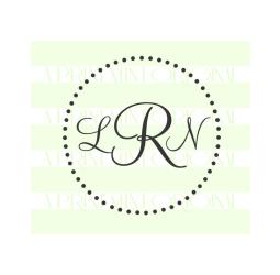 Simple Round Monogram Doted Stamp- Custom Initials Stamp