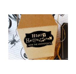 Happy Halloween Stamp- Custom Rustic Halloween, Halloween Gift Tag Stamp