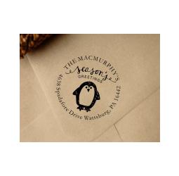 Christmas Return Address Stamp  Custom Penguin Stamp