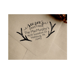 Christmas Address Stamp- Custom Antlers Stamp