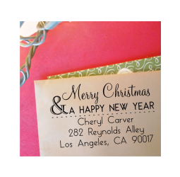 Merry Christmas and a Happy New Year Return Address  Stamp