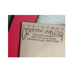 Christmas Return Address Stamp- Custom Christmas Greetings Stamp