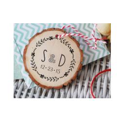 Wedding Stamp- Rustic Custom Round Initials and Date Stamp- Wreath  Stamp