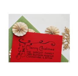 Christmas Return Address Stamp- Custom Christmas Ornament Self Inking Rubber Stamp