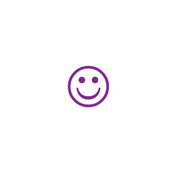 "PURPLE HAPPY FACE Stock Stamp  One-color Stock Stamp X-stamper Stamp Size 5/8 Diameter"". High quality  and easy Re-inking with X-Stamper Ink."