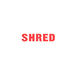 "SHRED Stock Stamp  One-color Stock Stamp X-stamper Stamp Size 1/2"" X 1 5/8"". High quality  and easy Re-inking with X-Stamper Ink."