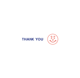 "THANK YOU smile face Two Colored  Stock Stamp  Two-color Stock Stamp X-stamper Stamp Size ½"" x 1-5/8"". High quality  and easy Re-inking with X-Stamper Ink."