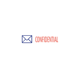 "CONFIDENTIAL Stock Stamp  Two-color Stock Stamp X-stamper Stamp Size ½"" x 1-5/8"". High quality  and easy Re-inking with X-Stamper Ink."