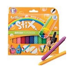 Artline Brush Markers include a flexible brush tip that creates beautiful thin and thick strokes. They connect like blocks- cross-shape, vertical, lateral or bundled. It comes with 12 colors.