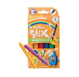 Artline Brush Markers include a flexible brush tip that creates beautiful thin and thick strokes. They connect like blocks- cross-shape, vertical, lateral or bundled. It comes with 6 colors Yellow, Orange, Red, Blue, Green, Black. Safe for children and ad