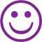 """PURPLE HAPPY FACE Stock Stamp  One-color Stock Stamp X-stamper Stamp Size 5/8 Diameter"""". High quality  and easy Re-inking with X-Stamper Ink."""