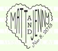 Wedding Names in Heart Return Address Stamp