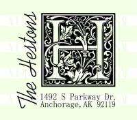 Monogram Last Name Return Address Stamp
