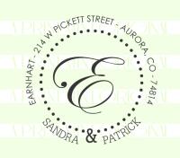 Custom Round Monogram Wedding Return Address