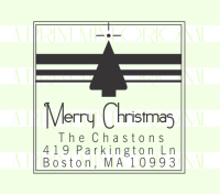 Custom Merry Christmas Tree Return Address Stamp