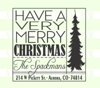 Square Christmas Tree Return Address Stamp