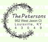 Flower Wreath Custom Return Address Stamp