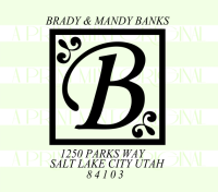 Letter Monogram return address stamp