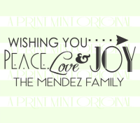Custom Peace, Love & Joy Family Christmas Label Return Address Stamp
