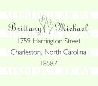 Heart Wedding Return Address Self-inking Stamp or Rubber Stamp