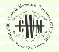 Round Monogram Address Stamp- Custom Self-inking or Rubber Stamp