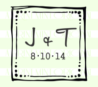 Square Rustic Wedding- Initials and Date- Stamp