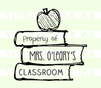 Custom Property Of  - School Teacher Name - Book  Stack Stamp