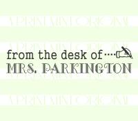 Custom From The Desk Of- Teacher Name Pen Book Stamp