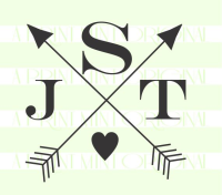 Crossed Arrow Monogram Stamp- Custom Small Initials Stamp