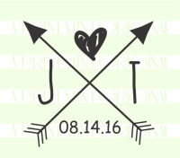 Rustic Crossed Arrows Monogram Stamp with Date Stamp