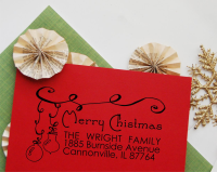Christmas Return Address Stamp- Custom Christmas Ornament Self Inking Rubber Stamp