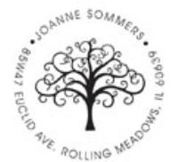 Custom Tree Design Monogram Wedding Address Stamp