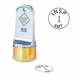 Design your own Custom neoprene inspection stamp. Order a round inspection stamp they are custom made in the USA and ship in 1-3 business days.