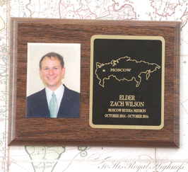 "LDS Missionary Plaque Black and Gold  5 X 7""  with a walnut finish. Laser engraved and UV-digitally printed missionary photo for a permanent remembrance of your service."