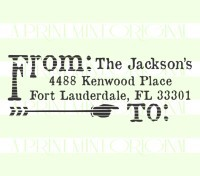 Return Address Stamp, Distressed Arrow  custom return address rubber stamp great for stationary, weddings, invitations.