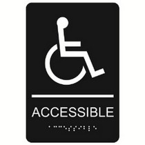 """Accessible with Wheelchair Symbol 6"""" x 9"""" economy braille signs. Produced with standard designs these ADA signs are an economical way to achieve ADA compliance."""