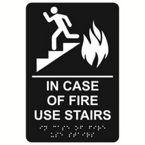 In Case of Fire Use Stairs economy braille signs. Produced with standard designs these ADA signs are an economical way to achieve ADA compliance.