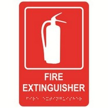 """Fire Extinguisher 6"""" x 9"""" economy braille signs. Produced with standard designs these ADA signs are an economical way to achieve ADA compliance."""